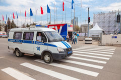 Russian patrol vehicle of the State Automobile Inspectorate duri Stock Photos
