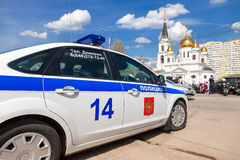 Russian patrol vehicle of the State Automobile Inspectorate duri Royalty Free Stock Images