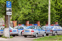 Russian patrol vehicles of the State Automobile Inspectorate on Royalty Free Stock Images