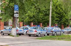 Russian patrol vehicles of the State Automobile Inspectorate on Royalty Free Stock Photos