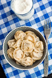 Russian pelmeni (meat dumplings) Stock Images