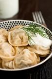 Russian pelmeni (meat dumplings) Royalty Free Stock Image