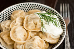 Russian pelmeni (meat dumplings) Royalty Free Stock Photography