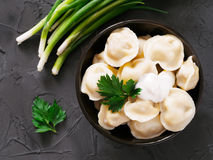 Russian pelmeni, ravioli, dumplings with meat Royalty Free Stock Images