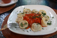 Russian pelmeni with vegetable salsa Stock Image