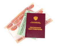 Russian pension certificate and certificate of insurance Stock Photography
