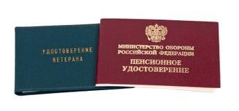 Russian pension and veteran certificate Stock Image