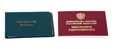 Russian pension and veteran certificate Stock Photography