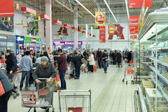 Russian people in the supermarket Stock Image