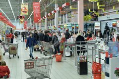 Russian people in the supermarket Stock Images