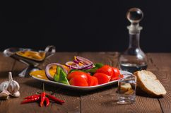 Russian pickle appetizer and carafe of vodka stock images