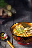 Russian pickle vegan soup in rustic style Stock Image