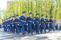 Russian pilots officers at a military parade in solemn form Stock Photos