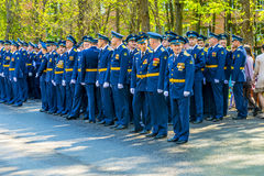 Russian pilots officers at a military parade in solemn form Royalty Free Stock Image