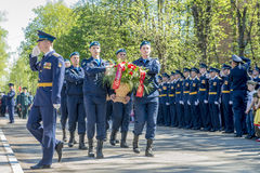 Russian pilots officers at a military parade in solemn form Royalty Free Stock Photography