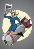 Russian pin up girl ride a nuclear bomb royalty free illustration