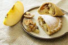 Russian pirozhki, baked patties or pies on basket Stock Photo