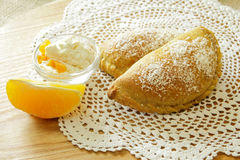 Russian pirozhki, baked patties or pies on basket Stock Photography