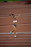 Russian pole vaulter celebrates new world record Stock Images