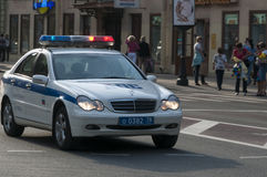 Russian police car emergency Stock Photos