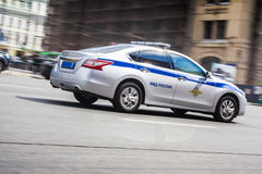 Russian police car. Police car move along an road royalty free stock photo