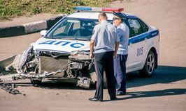 Russian police car was in an accident Royalty Free Stock Images