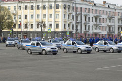 Russian police cars Royalty Free Stock Image