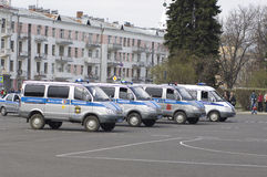 Russian police cars Royalty Free Stock Photography