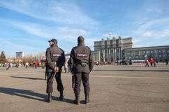 Russian police at the central square in Samara, Russia Royalty Free Stock Photography