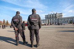 Russian police at the central square in Samara, Russia Stock Photography