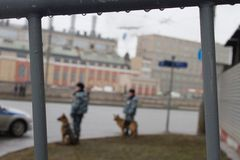 Russian police and dogs on oppositional march Stock Images