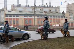 Russian police and dogs on oppositional march Royalty Free Stock Photography