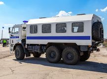 Russian police heavy truck on the city street. Samara, Russia - April 13, 2019: Russian police heavy truck on the city street in summer sunny day royalty free stock images