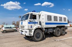 Russian police heavy truck on the city street. Samara, Russia - April 13, 2019: Russian police heavy truck on the city street in summer sunny day stock images