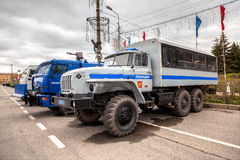 Russian police heavy truck parked on the city street in spring d Royalty Free Stock Photo