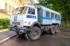 Russian police heavy truck parked on the city street Royalty Free Stock Photos