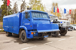 Russian police heavy truck to disperse demonstrations parked at Stock Photos