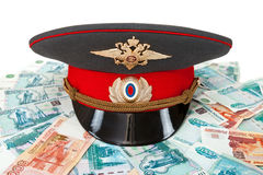 Russian police officer cah and money Stock Photo