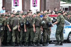 Russian police during the opposition rally Stock Image