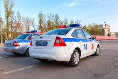 Russian police patrol cars of the State Automobile Inspectorate Royalty Free Stock Photography