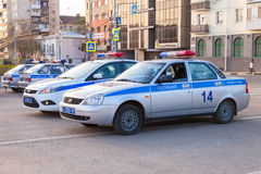 Russian police patrol cars of the State Automobile Inspectorate Royalty Free Stock Image