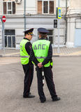 Russian police patrol officers of the State Automobile Inspector Royalty Free Stock Photo