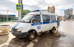 Russian police patrol vehicle parked on the city street Royalty Free Stock Photography