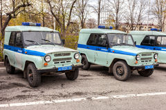 Russian police patrol vehicles parked on the city street  in spr Royalty Free Stock Photography