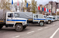 Russian police patrol vehicles parked on the Kuibyshev square in Royalty Free Stock Photos