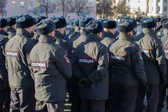 Russian police. Photo Russian police officers standing in the ranks Royalty Free Stock Photo