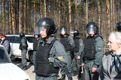 Russian police on the protest of environmentalists in the Khimki forest Royalty Free Stock Images