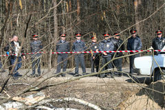 Russian police on the protest of environmentalists in the Khimki forest Royalty Free Stock Image