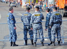 Russian police, special squad (OMON). Special squad of Russian police (militsija), or OMON stands across main street of St.Petersburg, Russia. 1st of May 2009 Stock Photos