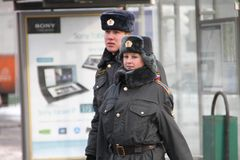 Russian police in winter Royalty Free Stock Photos